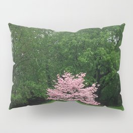 Pink Cherry Tree in a Sea of Green Pillow Sham