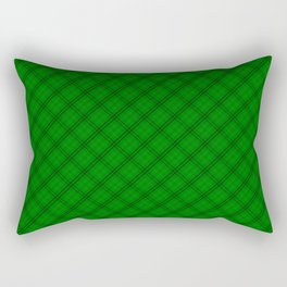 Alien Green and Black Halloween Tartan Check Plaid Rectangular Pillow
