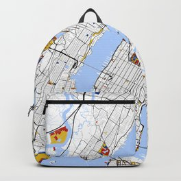 New York City Map United States Mondrian color Backpack