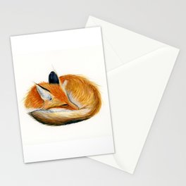 Sleeping Fox Watercolor Painting Stationery Cards