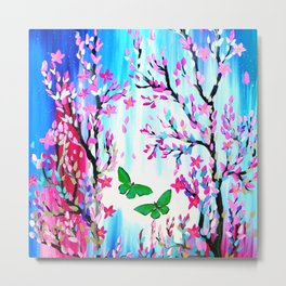 Cherry Blossoms and Butterflies Metal Print
