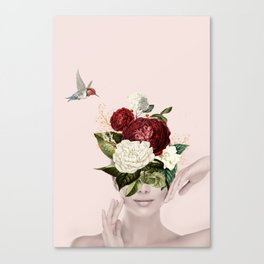 Collage of lady with flowers Canvas Print
