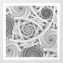 GET LOST - Black and White Spiral Art Print