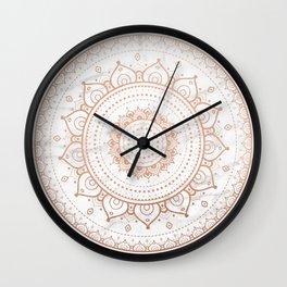 Mandala - rose gold and white marble Wall Clock