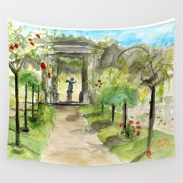 Cupid in a Rose Garden Wall Tapestry