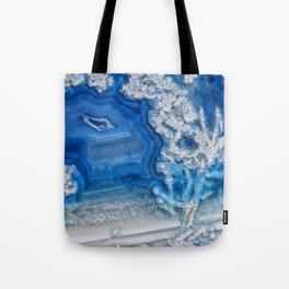 Blue whte agate crystal Tote Bag