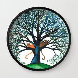 Corozal Stray Cats in Tree Wall Clock
