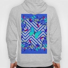 Geometric  Blue Butterflies &  Purple Morning Glories Hoody