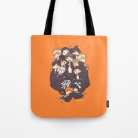 haikyuu Tote Bags featuring Haikyuu!! Karasuno Team by Kim Quim