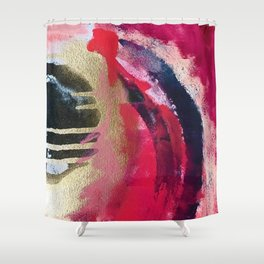 Between Heartbeats [1]: a vibrant abstract piece in pink gold black and white by Alyssa Hamilton Art Shower Curtain