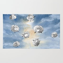 Digital Sheep in a Watercolor Sky Rug