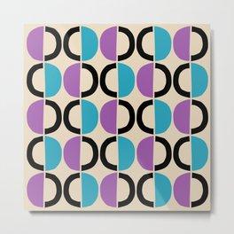 Mid Century Modern Half Circle Pattern 546 Beige Black Purple and Cyan Metal Print