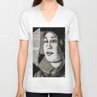bianca V-neck T-shirts featuring Bianca Davri by Anca Chelaru