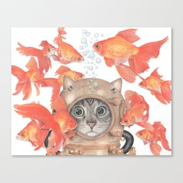 Scuba Cat Among the Fishes Canvas Print