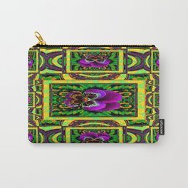 PURPLE PANSY & GREEN ORGANIC GEOMETRIC PATTERNS ABSTRACT Carry-All Pouch