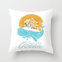 Ocean Day Marine Aquatic Animals Save The Ocean Sea Life Gift Throw Pillow