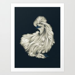 Fluffy Silkie Chicken Art Print