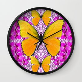 FUCHSIA COLORED  ORCHIDS &  YELLOW  BUTTERFLY FLORAL Wall Clock