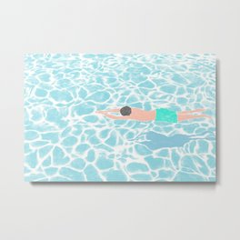 SWIMMING ALONE Metal Print