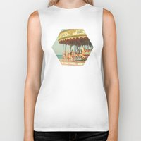 carousel Biker Tanks featuring Seaside Carousel by Cassia Beck