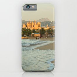 Palma beach with the cathedral in the background- travel photography - Palma de Mallorca iPhone Case