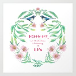 Happiness - Botanic bird water lily - Green, pink - Circle Art Print