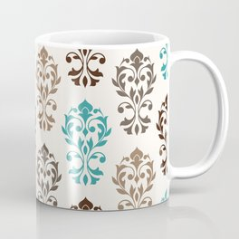 Heart Damask Art I Browns Teal Cream Coffee Mug