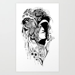 Cat Ladybug Hat Lady Illustration Art Print