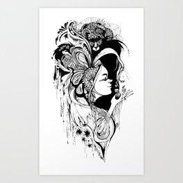 Cat Ladybug Hat Lady Illustration Art Print