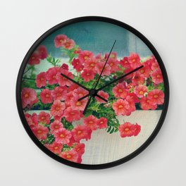 Painterly Summer Floral Coral Red Million Bells in Beachy Window Box Wall Clock