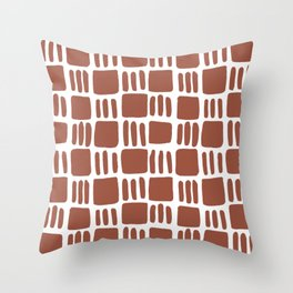 Abstract squares - brick red Throw Pillow