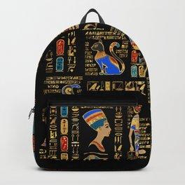 Egyptian hieroglyphs and deities on black Backpack