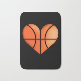 Basketball Heart graphic Funny Gift for Valentine's Day Bath Mat