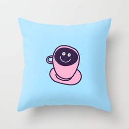 funny coffee cup Throw Pillow