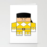 power rangers Stationery Cards featuring Mighty Morphin Power Rangers - The Original Yellow Ranger Unmasked (Trini) by Choo Koon Designs