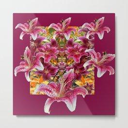 BURGUNDY STAR GAZER LILY FLOWER  ART Metal Print