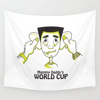 world cup Wall Tapestries featuring Mummy Daddy's World cup by Jyoti Khetan