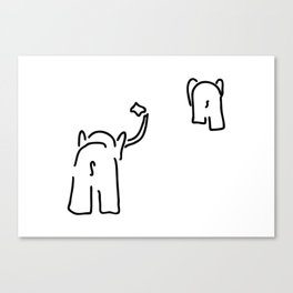 pair of elephants say goodbye Canvas Print