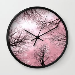 Black Trees Pink Sky Wall Clock