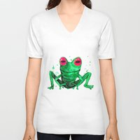 frog V-neck T-shirts featuring Frog by Bwiselizzy