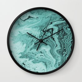 Marble sumiagashi turquoise marbling japanese marbled abstract pattern Wall Clock