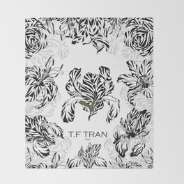 T.F TRAN CLASSIC FLORALS WHITE EDITION Throw Blanket