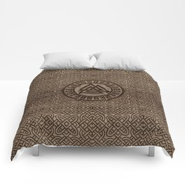 Valknut Symbol and Runes on Celtic Pattern on Wood Comforters