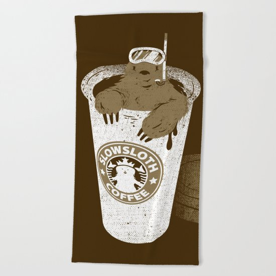 SlowSloth Coffee Dive Beach Towel