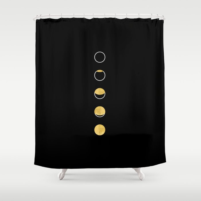 Moon Phase Wall Tapestry Lunar Cycle Black And Gold White