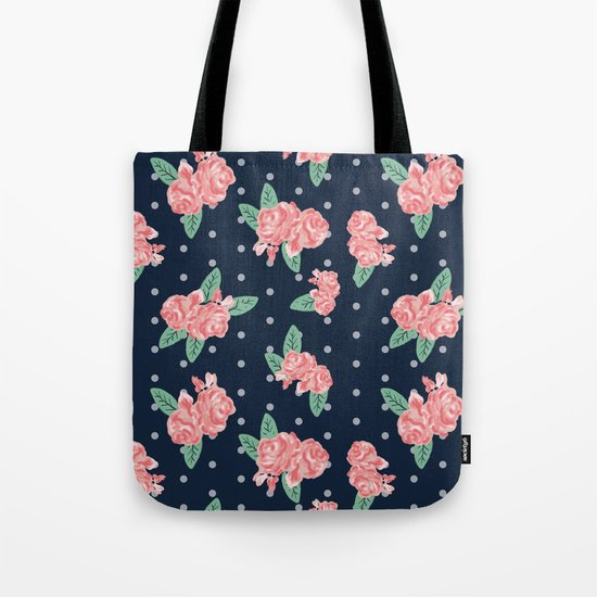Brooklin - Navy dots floral bouquet minimal boho abstract flowers Tote Bag