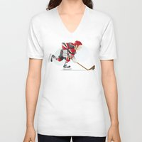 hockey V-neck T-shirts featuring Hockey by Dues Creatius