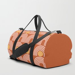 Geometric Lines in Rose Gold Terracotta (Sun and Rainbow Abstract) Duffle Bag
