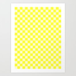 Cream Yellow and Electric Yellow Checkerboard Art Print
