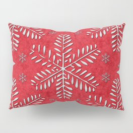 DP044-8 Silver snowflakes on red Pillow Sham